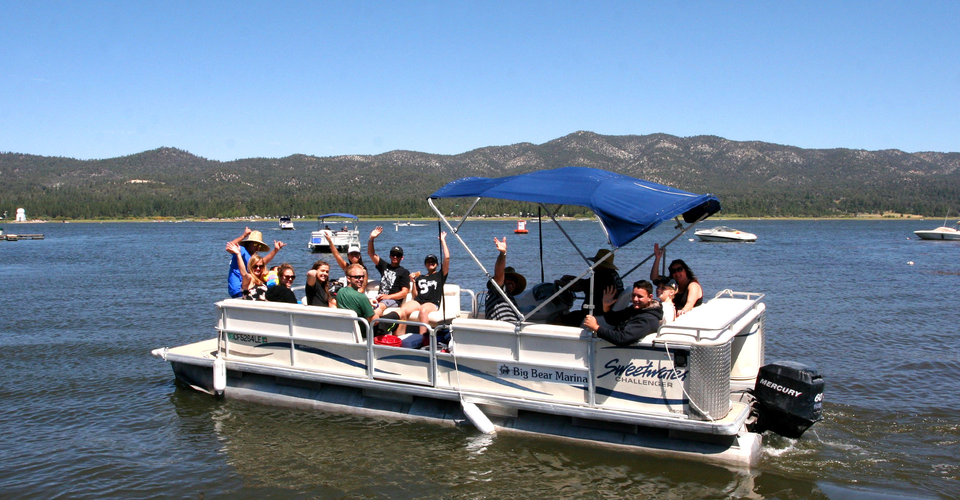 Big bear marina boat rentals for pontoon fishing for Lake fishing boats